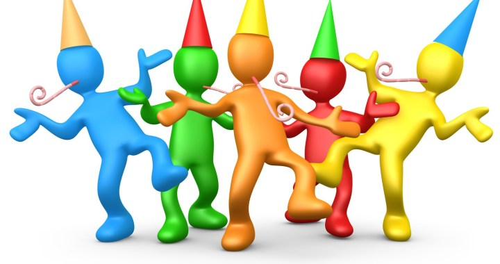 Clipart Illustration of a Diverse Group Of Colorful People Wearing Party Hats And Blowing Noise Makers While Dancing At A Birthday Or New Years Eve Party